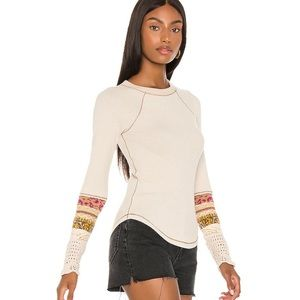 Free People Women's Mix Jacquard Cuff Sleeves Top